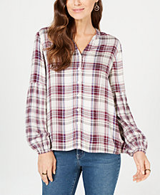 Style & Co Plaid Bishop-Sleeve Shirt, Created for Macy's