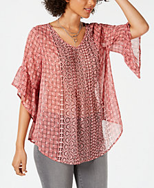 Style & Co Printed Pleated Semi-Sheer Top, Created for Macy's