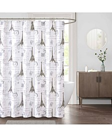 "Paris 72"" x 72"" Faux-Linen Shower Curtain"