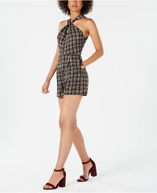45727ab5e11 19 Cooper Tweed Plaid Halter Romper   Reviews - Dresses - Women - Macy s
