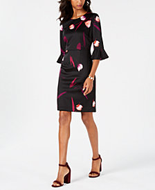 Nine West Floral-Printed Bell-Sleeve Sheath Dress