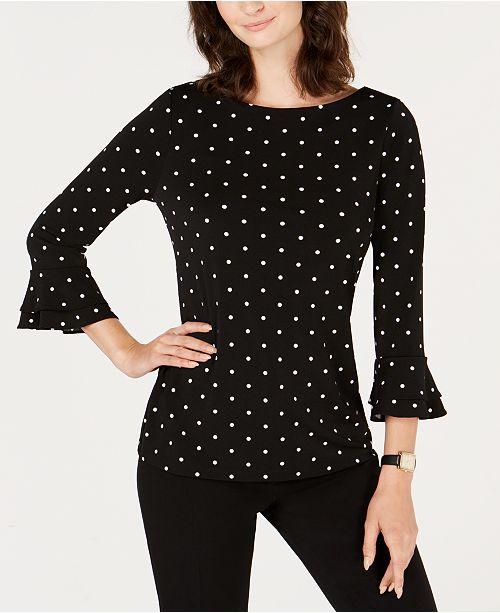a57ddbf8bd1 Charter Club Dot-Print Double-Ruffle Cuff Top, Created for Macy's ...