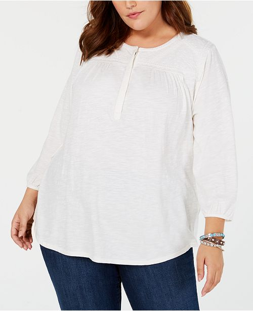 1ccad1c85ad41 Lucky Brand Trendy Plus Size Cotton Embroidered Top - Tops - Plus ...