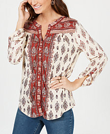 Style & Co Printed Button-Neck Top, Created for Macy's