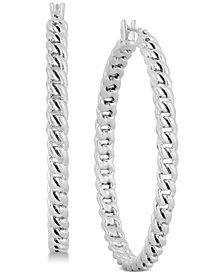 "Lucky Brand Silver-Tone Chain Link 2"" Hoop Earrings"