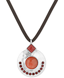 "Lucky Brand Silver-Tone Stone & Leather Cord 34"" Pendant Necklace"