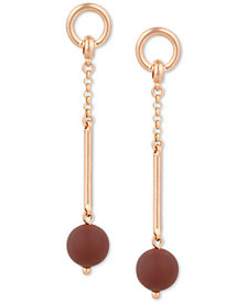Lucky Brand Rose Gold-Tone Painted Bead Linear Drop Earrings