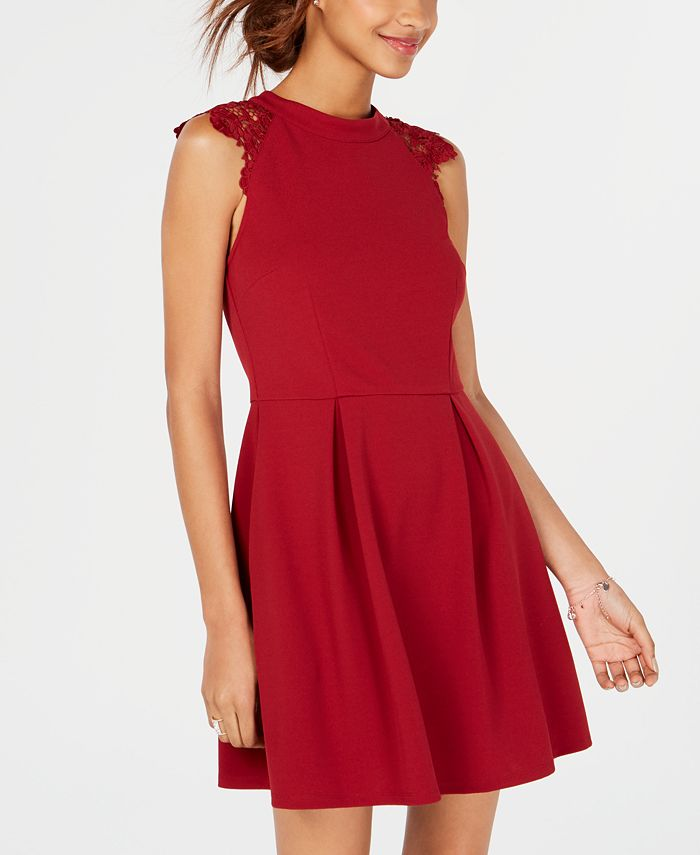 Speechless - Juniors' Lace-Contrast Fit & Flare Dress