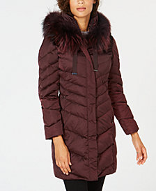 T Tahari Fur-Trim Hooded Down Coat