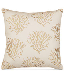 "Hallmart Collectibles Coral Embroidered 20"" Square Decorative Pillow"