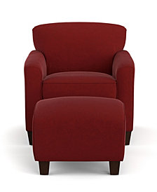 Leonardo Arm Chair and Ottoman in Red Microfiber