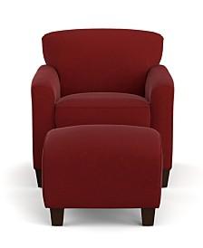 Leonardo Microfiber Arm Chair and Ottoman
