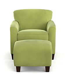 Leonardo Chair & Ottoman in Pear Velvet