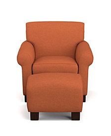 Wendy Chair & Ottoman in Orange Linen