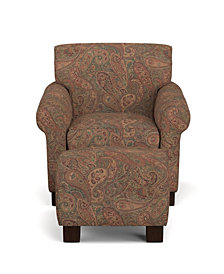 Wendy Arm Chair and Ottoman in Paisley