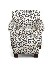 Wendy Chair & Ottoman in Charcoal Modern Floral