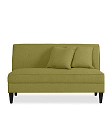 Trilby Armless Loveseat in Apple Green Linen