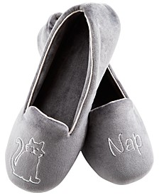 Women's Velour Conversational Slippers with Memory Foam