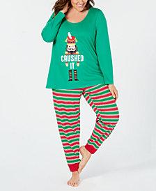 Matching Family Pajamas Plus Size Women's Crushed It Stripe Pajama Set, Created For Macy's