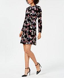 Nine West Floral-Print Mock-Neck Dress