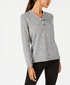 Karen Scott Petite Cotton Marled Henley Sweater, Created for Macy's