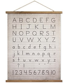 Linen & Wood Scroll Wall Decor with the Alphabet & Numbers