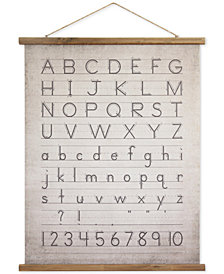 3R Studio Linen & Wood Scroll Wall Decor with the Alphabet & Numbers