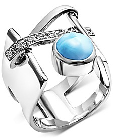 Larimar & White Topaz Accent Statement Ring in Sterling Silver