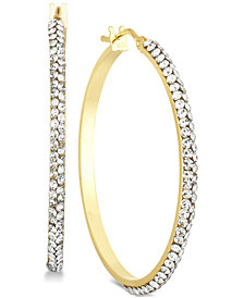 Swarovski Crystal Hoop Earrings in 14k Gold & White Gold