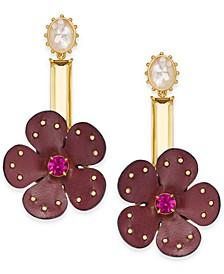 Gold-Tone Multi-Stone Leather Flower Asymmetrical Chandelier Earrings