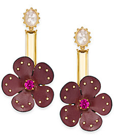 kate spade new york Gold-Tone Multi-Stone Leather Flower Asymmetrical Chandelier Earrings