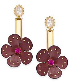 Kate Spade New York  Gold-Tone Multi-Stone Leather Flower Asymmetrical Chandelier Earrings