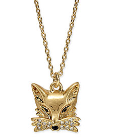 "kate spade new york Gold-Tone Pavé Fox Pendant Necklace, 16"" + 3"" extender"