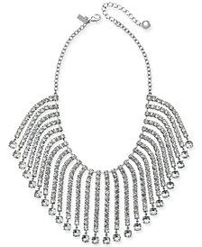 "kate spade new york Silver-Tone Crystal Fringe Statement Necklace, 16"" + 3"" extender"