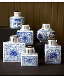 Canton Collection Set of 6 Tea Jars with NickelPlated Lid