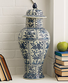 Blue and White Chrysanthemum Flower Covered Temple Jar