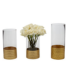 Hematite Set of 2 Frosted , Antiqued Art Glass Vases