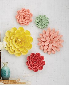 Two's Company Wall Flower Sculptures, Set of 5
