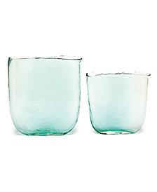 Ellipse Set of 2 Aqua Vases