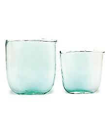 Two's Company Ellipse Aqua Vases, Set of 2