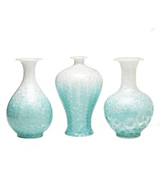 Two's Company Mother of Pearl Celadon Vases, Set of 3