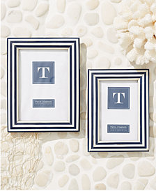 Nautical Stripes Set of 2 Blue and White Photo Frames Includes 2 Sizes