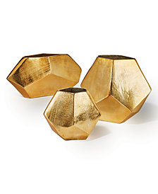 Set of 3 Golden Diamond Shaped Decorative Vases