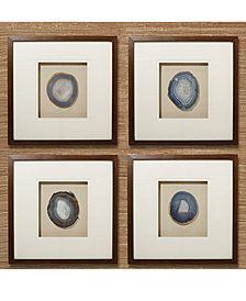 Set of 4 Genuine Geode, Agate Wall Art in Brown Wooden Frame  Includes 2 Assorted Colors - 2 Grey, Blue and 2 Grey, Brown