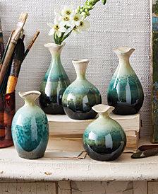 Set of 5 FlaredTop Celadon Dripping Vases