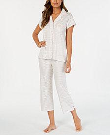 Miss Elaine Printed Notch-Collar Top & Capri Pants Pajama Set