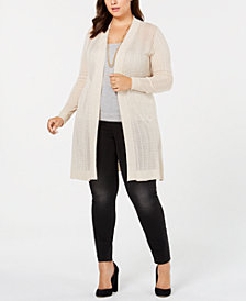 Belldini Plus Size Pointelle-Knit Long Cardigan
