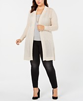 Belldini Plus Size Pointelle-Knit Long Cardigan f925a718a