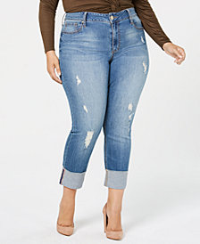Seven7 Jeans Trendy Plus Size Cuffed Slim-Straight-Leg Jeans