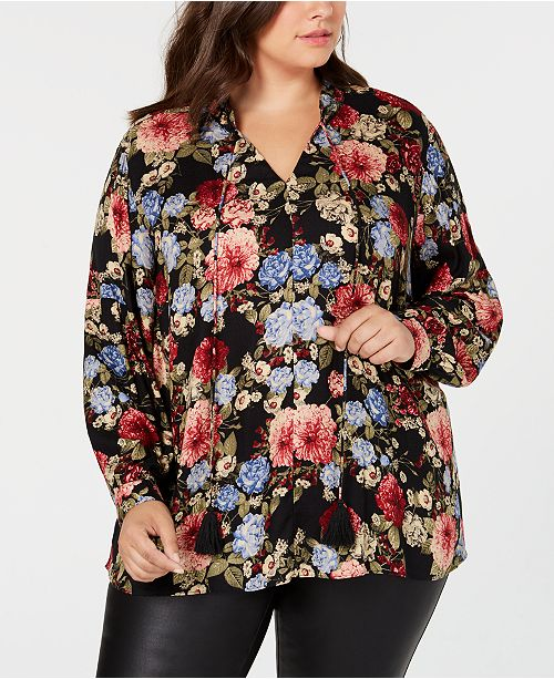 Seven7 Jeans Trendy Plus Size Printed Tie-Neck Top